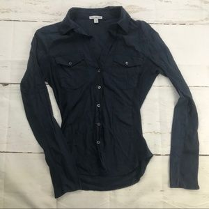 James Perse Navy Blue Long Sleeve Button Down